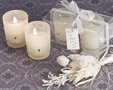 Sparkling Floral Votive Candle Favor Set in Display Box