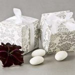 Silver and White Damask Favor Boxes