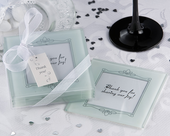 Memories Forever Frosted Glass Photo Coasters Favour Set