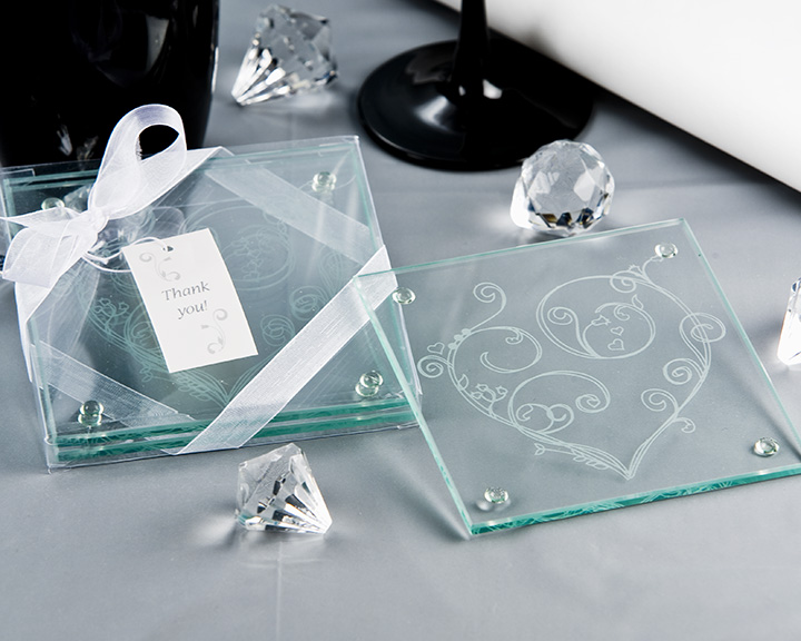 Heart Inscribed Glass Frosted Coaster Favours