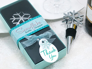 Snowflake Bottle Stopper Favour in Gift Box