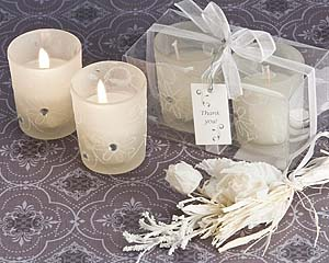 Floral Sparkle Candle Favour set in Frosted White