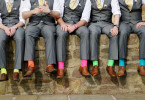 Funny colorful socks of groomsmen